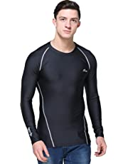 B-TUF Mens Compression Gym T-Shirt Top Skin Tight Baselayer Cool Dry Fit Sports Wear Long Sleeve BT-51