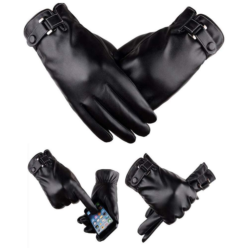Men's leather Gloves, Men's Windproof Waterproof Bicycle Leather Slip Plus Velvet Thickening Gloves