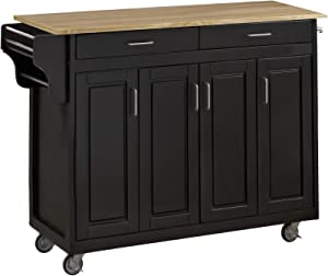 Create-a-Cart Black 4 Door Cabinet Kitchen Cart with Wood Top by Home Styles
