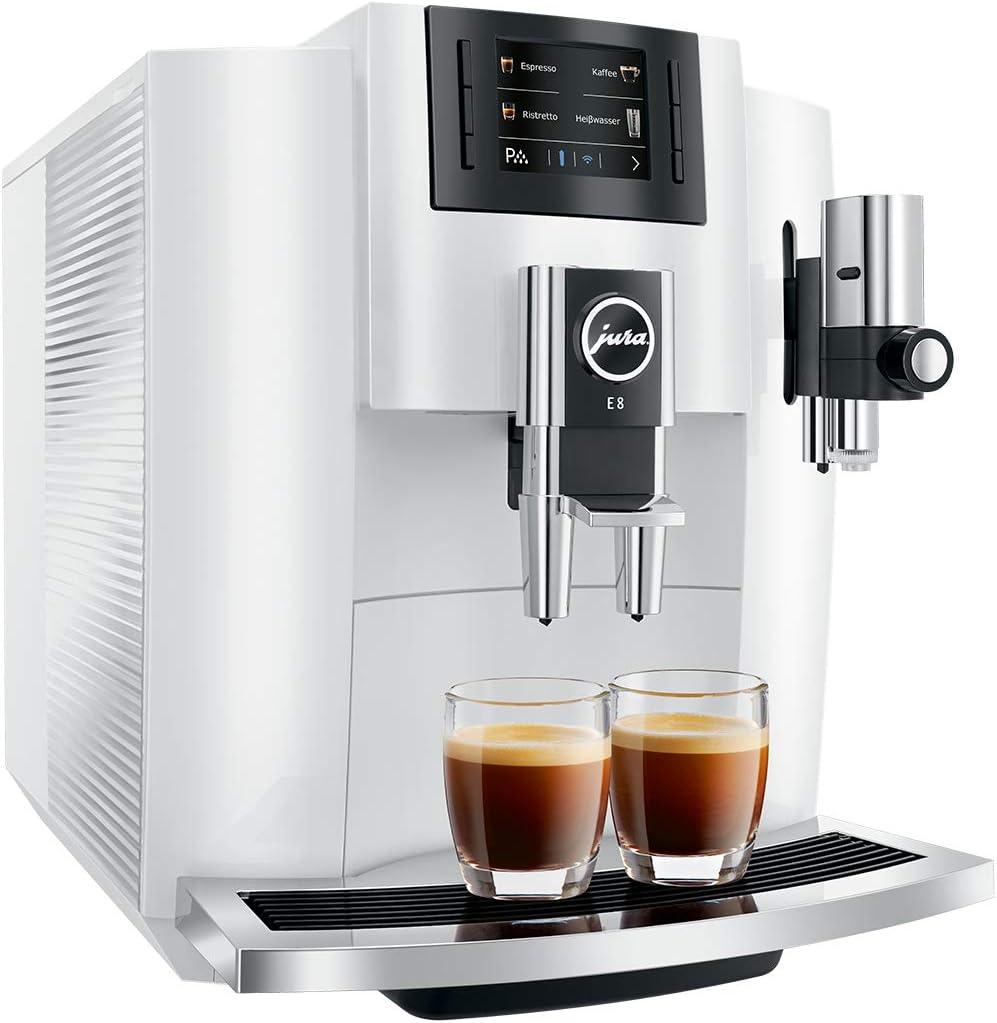 JURA E8 PianoWhite - Cafetera (Independiente, Máquina espresso, 1,9 L, Molinillo integrado, 1450 W, Negro, Plata, Blanco): Amazon.es: Hogar