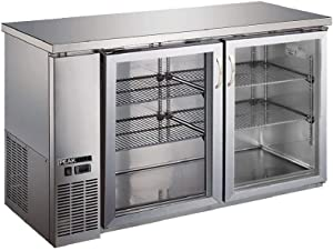 "PEAK COLD 2 Glass Door Commercial Back Bar Cooler; Stainless Steel Under Counter Refrigerator; 60"" W"