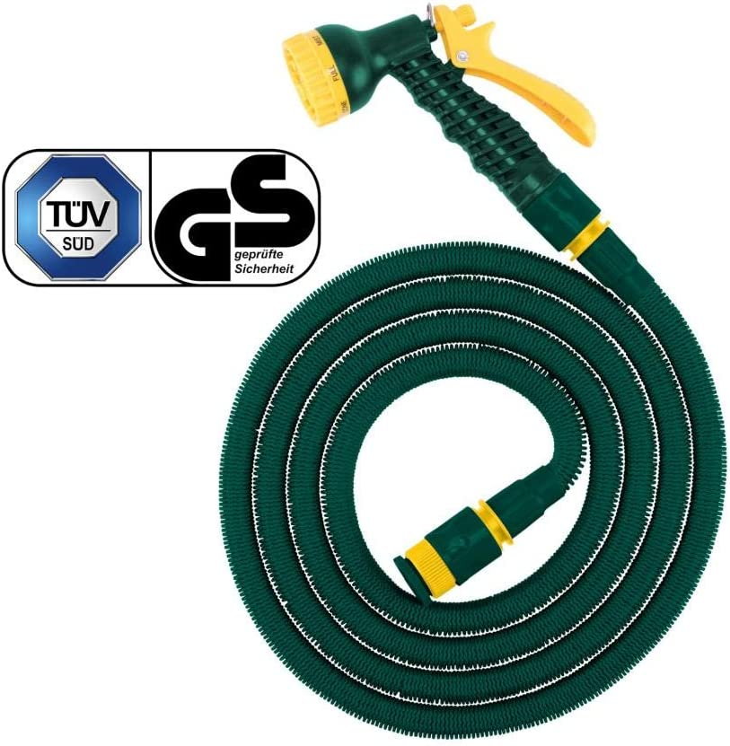 estensibile a piacere colore: verde//grigio//rosso 30 m verde Tubo flessibile da giardino estensibile con spruzzo multifunzionale in lattice//poliestere FloraSun