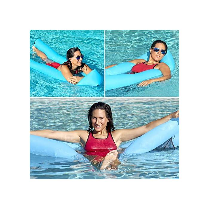 61sbfjsz82L Adecuado para muchas ocasiones: la Hamaca de agua flotante para nadar es ideal para un día en la piscina, el lago o el océano. Mantén tu cuerpo mojado y apoya la cabeza a flote por encima del agua. Fácil de inflar: infle el tumbona de flotante en condiciones de viento. Si es un día ventoso, simplemente abre la boca de la tumbona de flotador en el viento para inflarla. Use un ventilador para infle si el viento es insignificante o si está en casa. Cómodo y duradero: la cama de malla suave suspende su cuerpo justo debajo de la superficie del agua para mantenerlo fresco. Compuesto por nailon impermeable, este flotador es de punto, fino y suave.