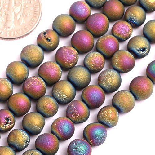 - GEM-Inside Druzy Metallic Coated Agate Gemstone Loose Beads 6mm Round Purple Multicolored Crystal Energy Stone Power for Jewelry Making 15