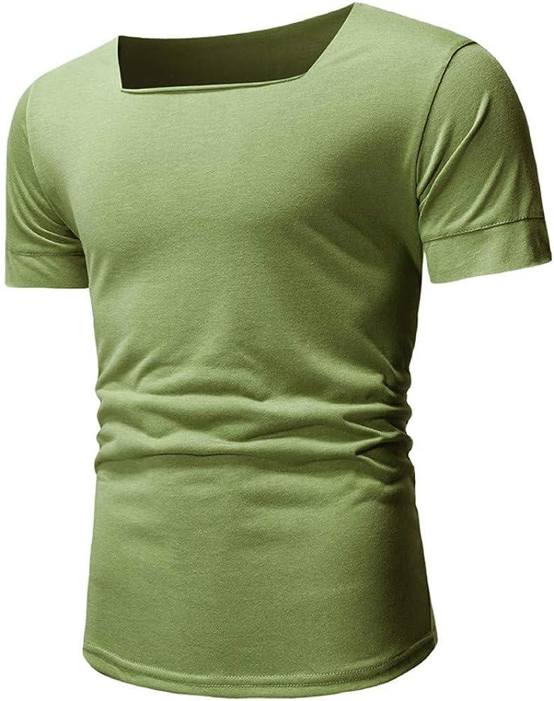 HCFKJ Camisetas Hombre Camisa Ajustada De Manga Corta con Cuello En U De Moda para Hombre: Amazon.es: Ropa y accesorios
