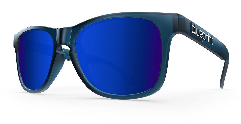 Blueprint Eyewear Noosa Wayfarer // Dark Blue Marina, Matt-dunkelblau Sonnenbrillen mit polarisierten Blau Spiegel Lens