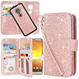 Cheap Moto G6 Play Case, Moto G6 Forge Case, Lacass Detachable 2 in 1 Glitter Shiny PU Leather Flip Wallet Case with 12 Card Slots and Wrist Strap for Moto G Play 6th Gen (XT1922) – Glitter Rose Gold