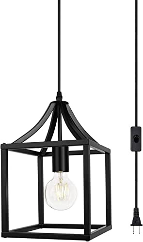 1-Light Black Farmhouse Pendant Light Mini Industrial Cage Chandelier Metal Hanging Light Fixture