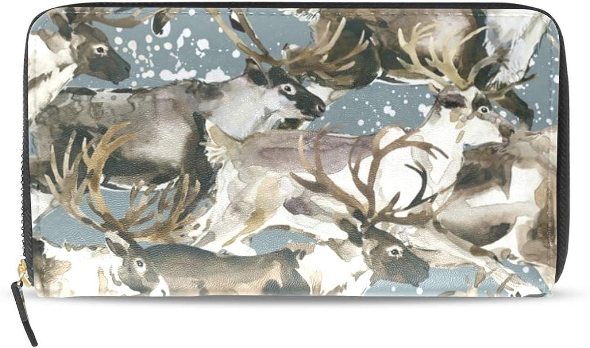 Wallet Long Clutch with Watercolor Reindeer Splash Chaos Print - Card Holder Organizer, PU Leather Zipper Purse for Men Women