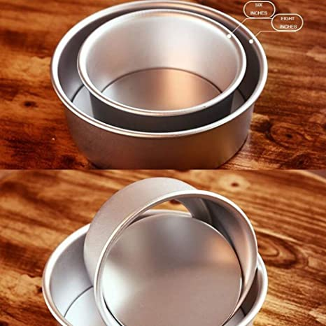 2PCS Aluminum Round Cake Pan with Removable Bottom Push Pan Bakeware Round Cheesecake Pan Chiffon Cake Mold 6 inch