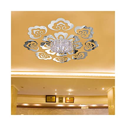 Creative Design Ceiling Decorative Wall Sticker Diy 3d Acrylic Mirror Effect Wall Decor Living Room Bedroom Entrance European Style Mural Decals