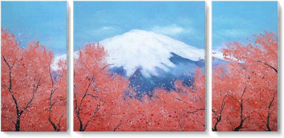 Large Landscape Wall Art for Living Room 100 Hand-painted Oil Painting Peak Of Mount Fuji Cherry Blossom Sakura In Blue Sky Modern Framed Nature Canvas Artwork Office Bedroom Decor 3 Panel 48x24inch