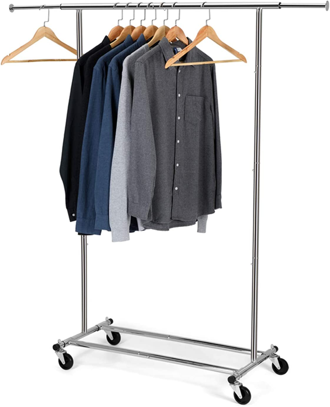 Bextsware Clothes Garment Rack, Commercial Grade Clothes Rolling Heavy Duty Storage Organizer on Wheels