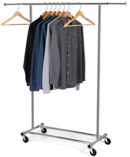 Bextsware Clothes Garment Rack, Commercial Grade Clothes Rolling Heavy Duty Storage Organizer on Wheels with Adjustable Clothing Rack, Holds up to 200 ...