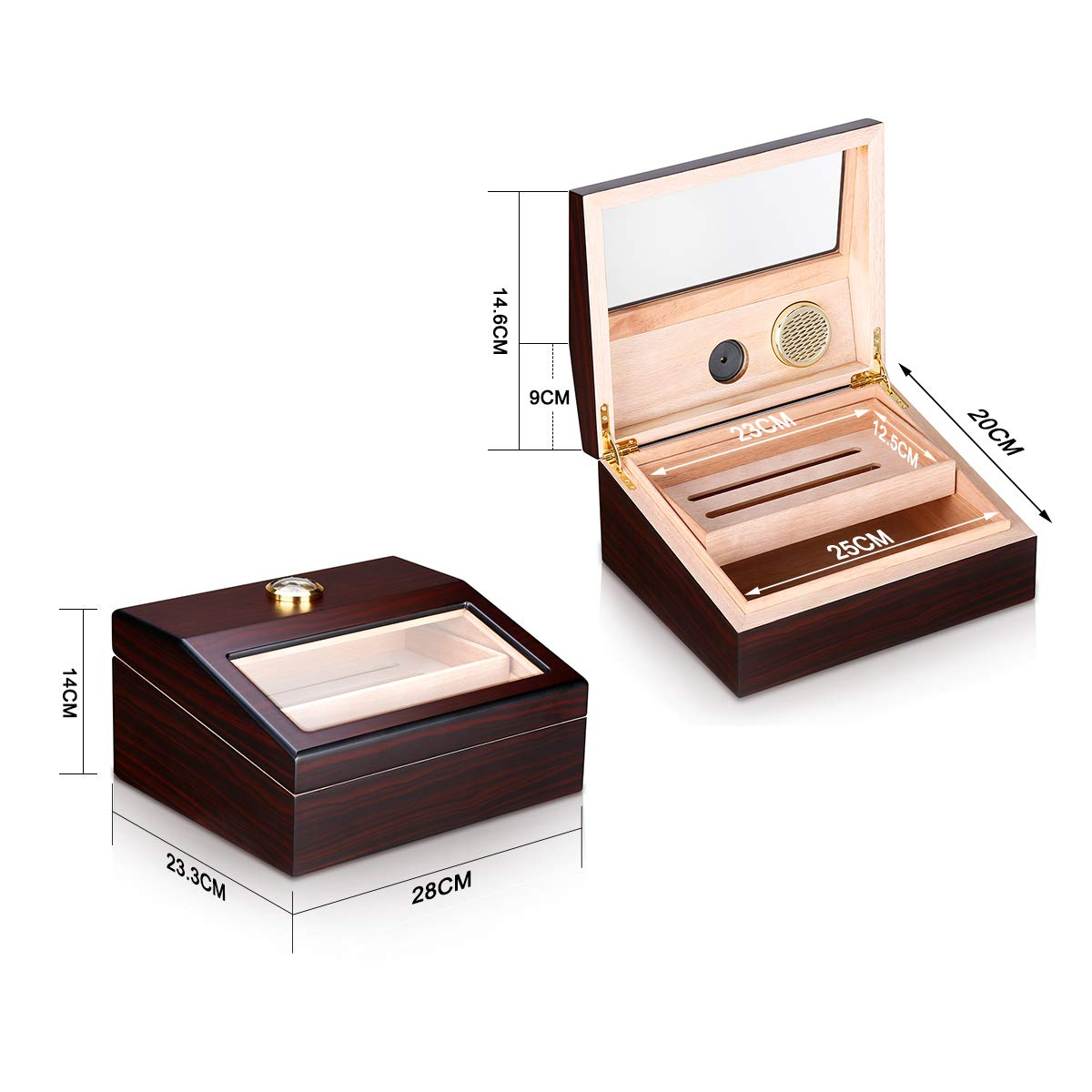 Humidor Cigar Humidor FLOUREO Wooden Luxury Double Moisturizing Cigar Box with Built-in Humidifier and Hygrometer Two-Layer Humidor Holds 50 to 60 Cigars