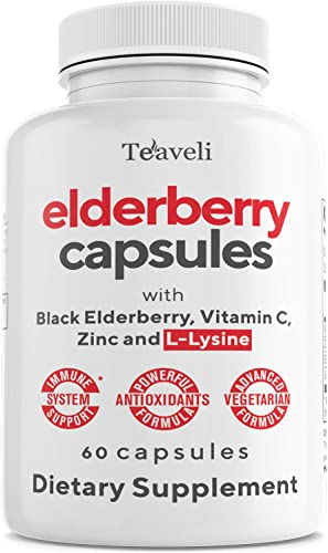 Premium Black Elderberry Capsules with Zinc, Vitamin C, L-Lysine Powerful Antioxidants to Support a Healthy Immune System Healthy Skin Vegan Sambucus Elderberry Pills- 60 Servings