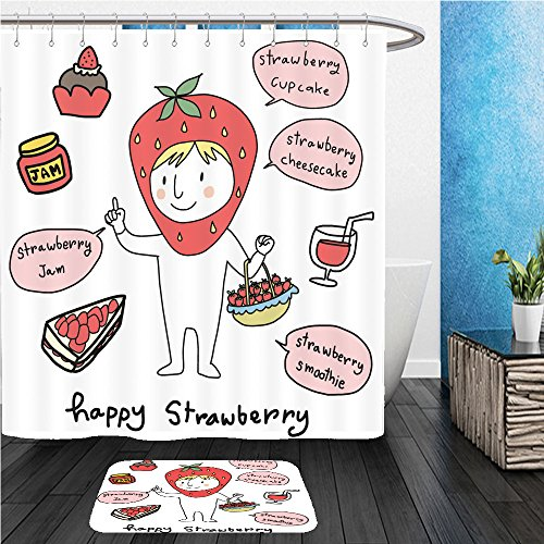 Beshowereb Bath Suit: ShowerCurtian & Doormat cute character of strawberry holding a basket full of ripe strawberries strawberry dish ideas such 601961375