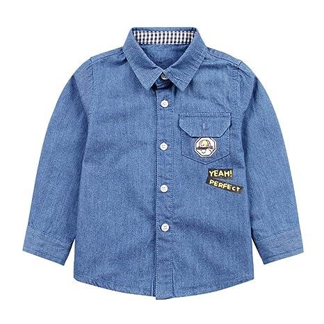 95f01772fd Camisa vaquera para niños chicos Polo azul Tops Ropa de manga larga ...