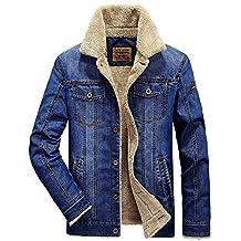 Mens Winter Warm Jean Fur Style Coat Parkas Denim Fashion Thick Truckers Jacket