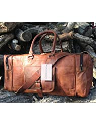 25 Inch Large Leather Duffel Travel Duffle Gym Sports Overnight Weekender Bag