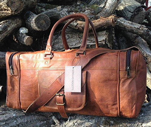 Leather Weekender - 25 Inch Large Leather Duffel Travel Duffle Gym Sports Overnight Weekender Bag