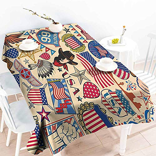 HRoomDecor Rectangle tablecloths,Americana Decor Collection,Symbols of USA Dollar Eagle Sheriff Headdress Manhattan and Statue of Liberty,Red Cobalt 70