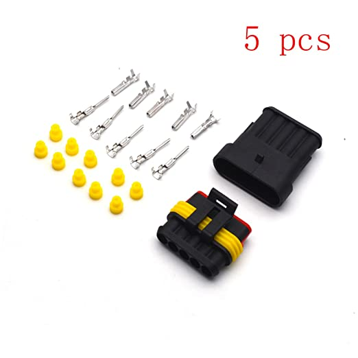 Antrader Car Waterproof Electrical Connector 1 Pin 1.5mm Series Automotive Male and Female Connector Sockets Set of 12