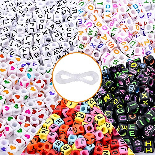 Roblue 1000pcs Cube Alphabet Beads Heart Beads Acrylic Letter Beads for Bracelet DIY Craft Jewelry Making (Heart Cube)