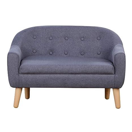 Amazon.com: Sofá infantil, tela de lino, sofá tapizado de 2 ...