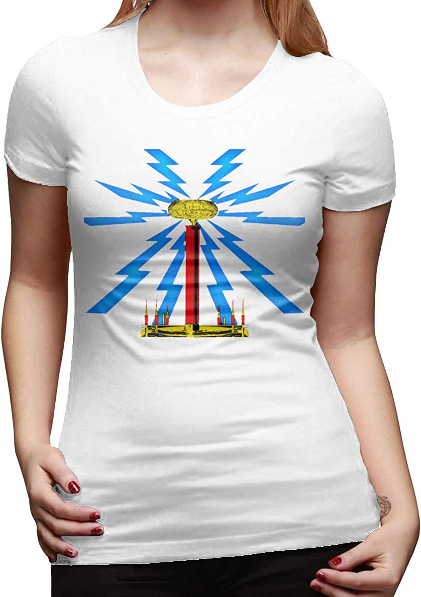 Smooffly Womens Tesla Coil Solo Cotton Casual Short Sleeves T Shirt