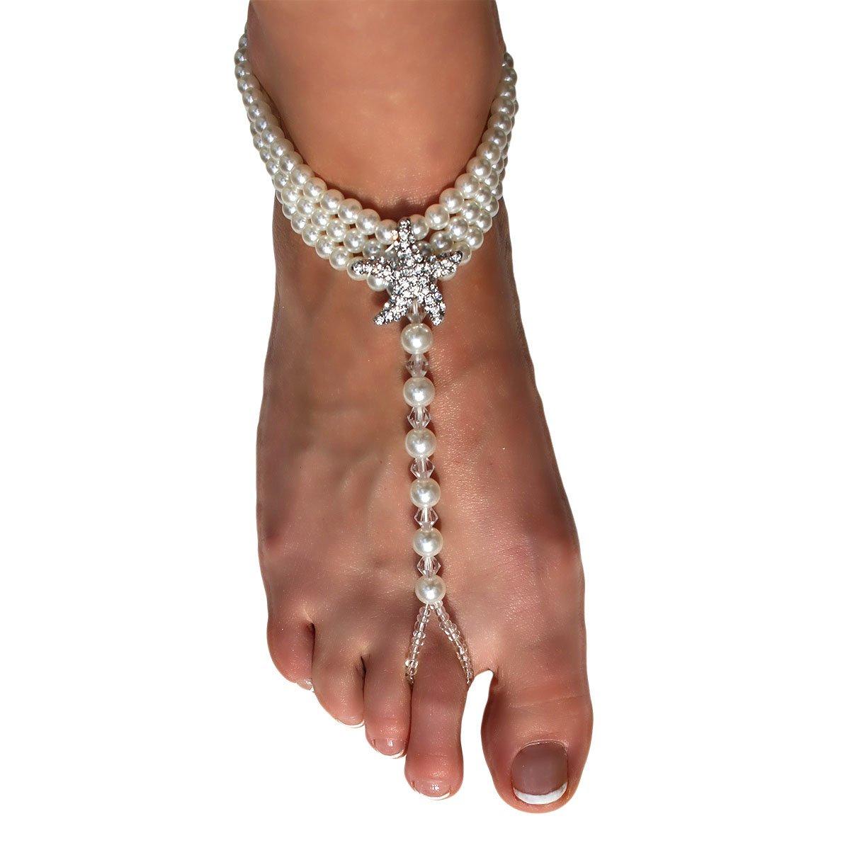 Ivory Beach Wedding Barefoot Sandals - Beaded Pearl Anklet with Rhinestone Starfish - Destination Wedding Ankle Bracelets - Set of 2