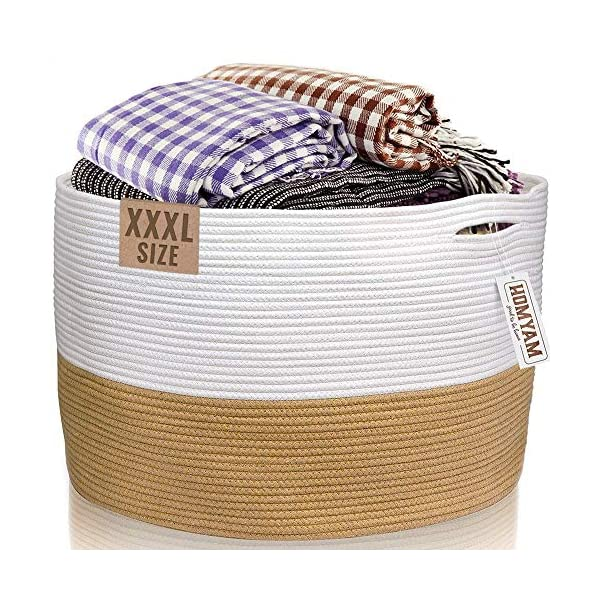 XXXL Cotton Rope Basket | 22″x14″ Huge Blanket Basket with Strong Handles – Easy to Carry Laundry Woven Basket for Clothes, Blankets, Toys, Nursery – White and Beige