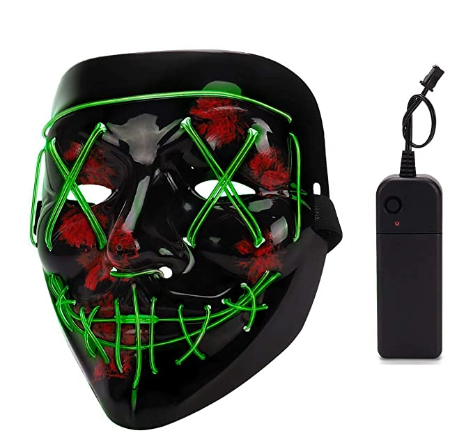 Depointer Halloween Scary Mask Cosplay Led Costume Mask EL Wire Light up Halloween Festival Party(Grass Green)