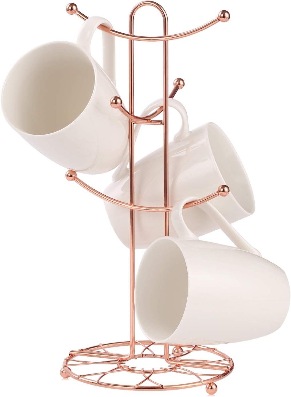 Buruis Mug Rack Tree, Decorative Flower Pattern Base Metal Mug Holder, Kitchen Coffee Mug Tree Countertop Tea Cups Holder Stand, Coffee Cup Dryer with 6 Hooks (Copper)