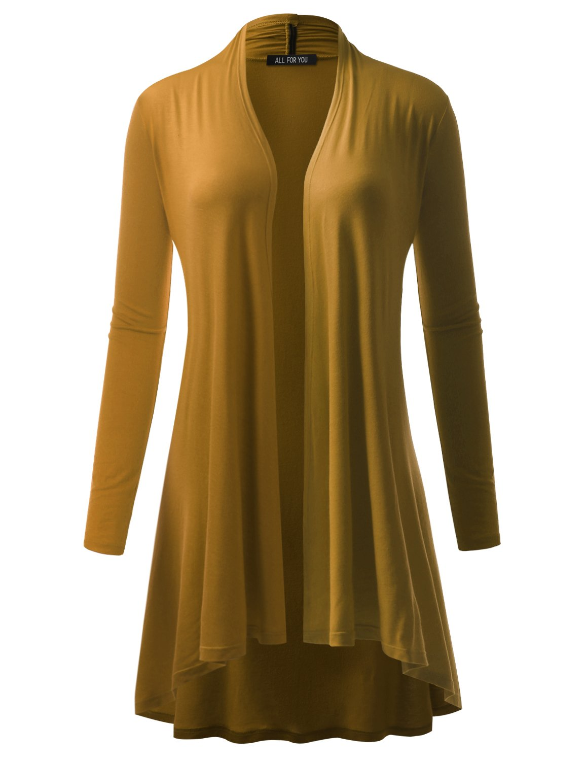 A.F.Y All For You Women's Extra Long Cardigan Mustard Medium