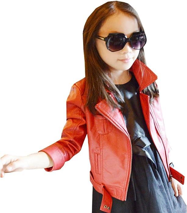Mädchen Strickjacke Kinder PU Leder Slim Fit Revers Langarm Lederjacke