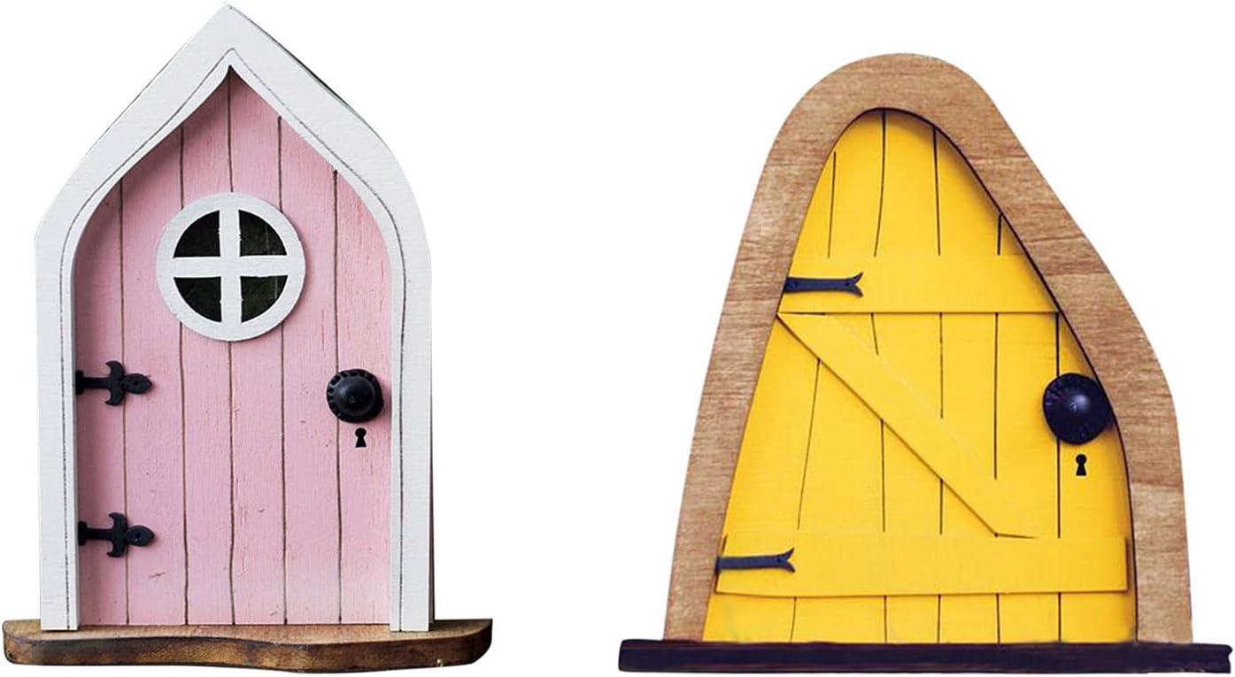 Wooden Miniature Fairy Doors Fairy Garden Decor Gnome House Kit, Miniature Fairy Gnome Home Door with Windows Trees Decoration, DIY Fairy Elf Door for Trees (Set B)