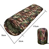 Camouflage Single Person Envelope Sleeping Bag with Carrying Bag for Kids or Adults