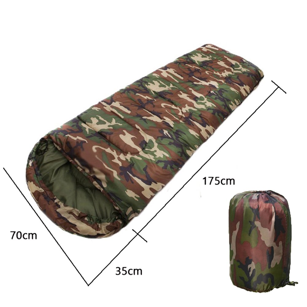 I-Sport Camouflage Single Person Envelope Sleeping Bag with Carrying Bag for Kids or Adults