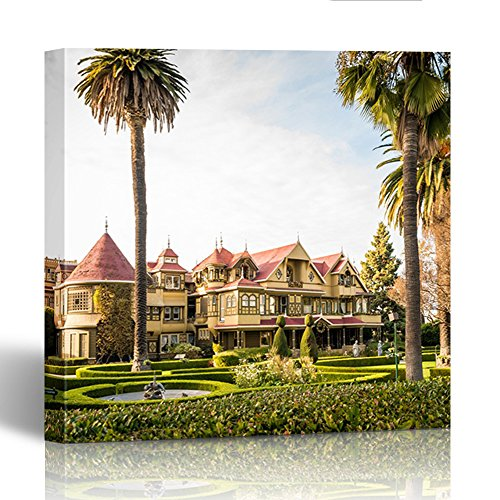 Emvency Painting Canvas Print Square 12x12 Inches America San Jose Ca Usa December 25 2New Life Decor16 Winchester Mystery House Museum Bay Wall Art Decoration Wrapped Wooden Frame