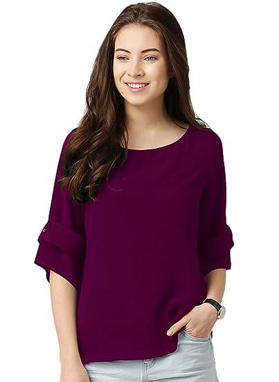 Queens Women's Cotton Reyon Wine Color Plain 3/4 Sleeve Top: Amazon