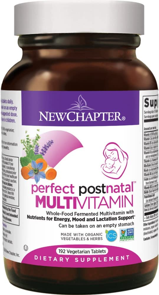 New Chapter Postnatal Vitamins, Lactation Supplement with Fermented Probiotics Wholefoods Vitamin D3 B Vitamins Organic Non-GMO Ingredients – 192 ct