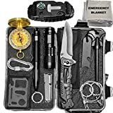 JustGuarded Emergency Survival Kit - 13 in 1 Outdoor Survival Gear Tool - Tactical Kit with Survival Bracelet, Fire Starter, Emergency Blanket, Flashlight, Whistle - Gift for Hiking, Climbing, Camping