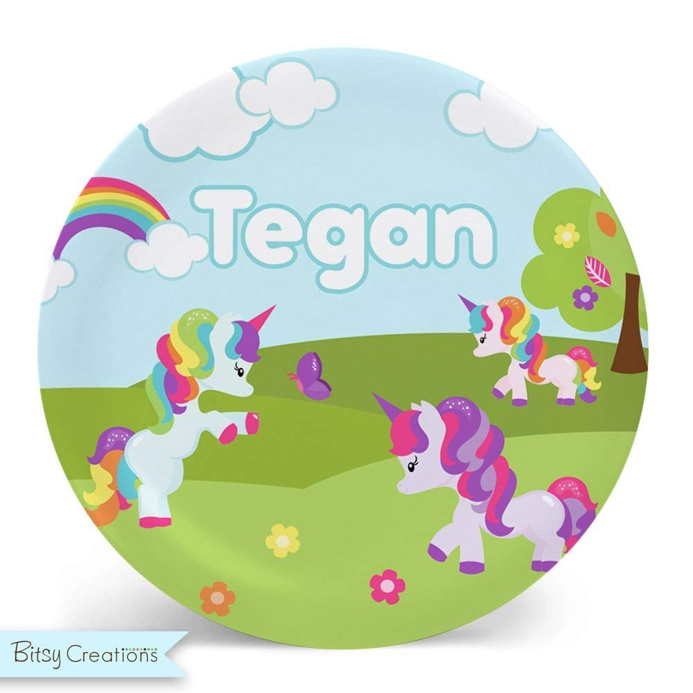 Unicorn personalize with a name colorful design bicycle plate