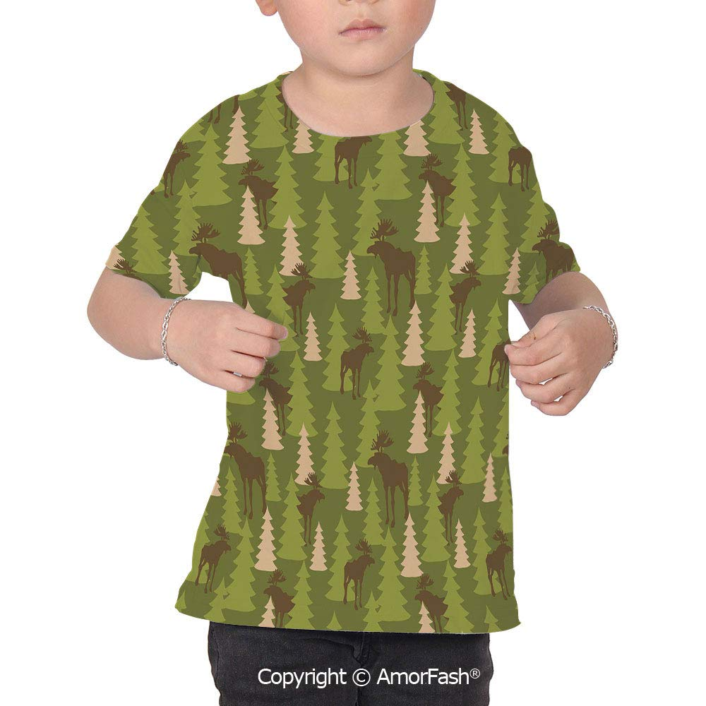 Deer Childrens Summer Casual T Shirt Dresses Short Sleeve,Animals in The Forres