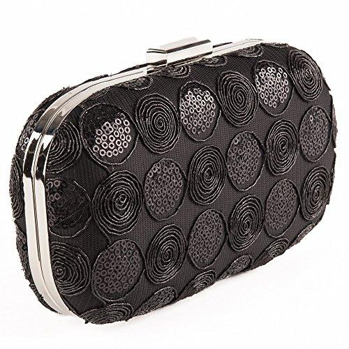 Borsa clutch, Morgana nera, in tessuto ricamato