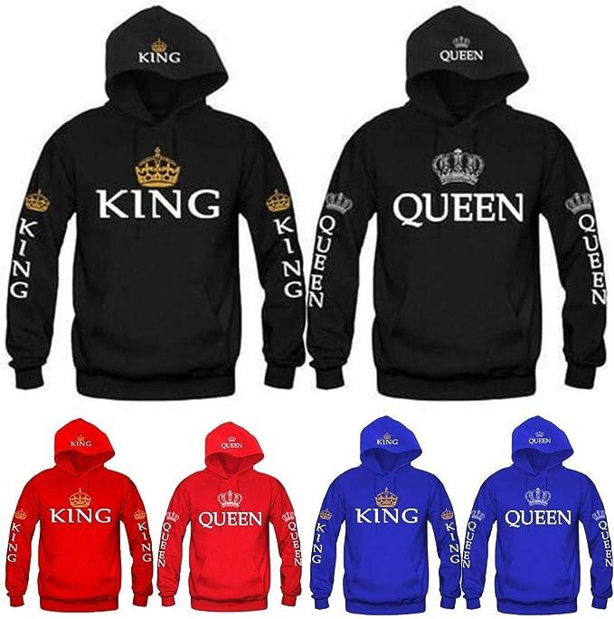 Fashion Hooded Sweatshirt King Queen Letter Print Hoodies