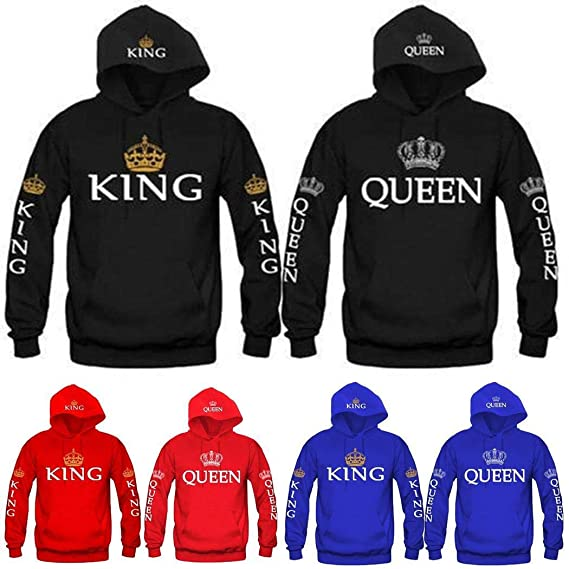 ThinIce Fashion Letter Print King & Queen Matching Couple His and Her Hooded Sweatshirt Hoodies at Amazon Womens Clothing store: