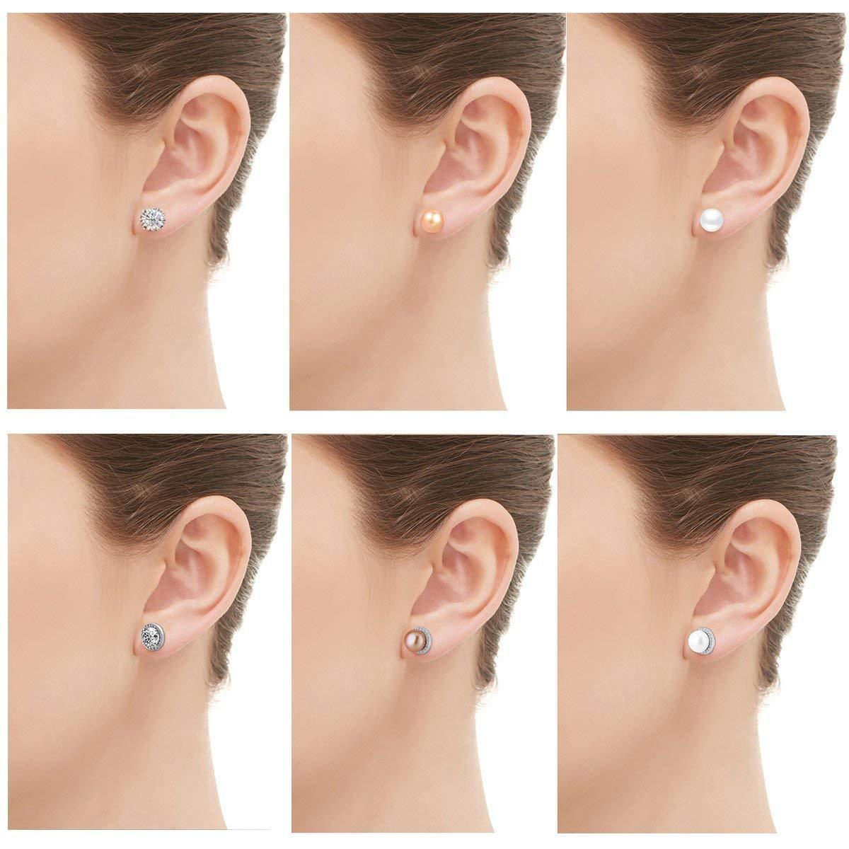 3 Pares Pendientes de plata con cristales y perla de las Mujeres Aretes Pendientes Piercing Joyería de Moda