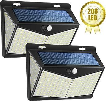 Luz Solar Exterior 208 LED, Luces LED Solares Exteriores con Sensor de Movimiento y 3 Modos de Iluminación, 270º lluminación Focos Solares Impermeable Lámpara Solar para Jardin (2-Paquete): Amazon.es: Iluminación